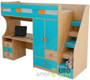 Фото UFOkids Кровать-чердак с рабочим местом и шкафом K018 80x200