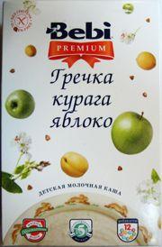 Фото Bebi Premium Каша молочная гречка, курага, яблоко, 200 г