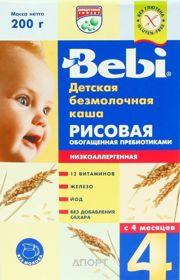 Фото Bebi Каша безмолочная Рисовая с пребиотиками 4 мес., 200 г