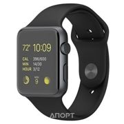 Фото Apple Watch 42mm Space Gray Aluminum Case with Black Sport Band (MJ3T2)