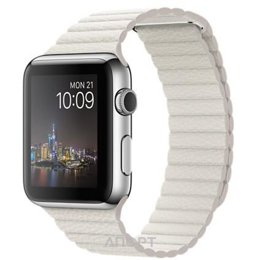 Apple Watch 42mm Stainless Steel Case with White Leather Loop - Medium (MMFV2)