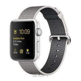 Apple Watch Series 2 42mm Silver Aluminum Case with Pearl Woven Nylon Band (MNPK2)