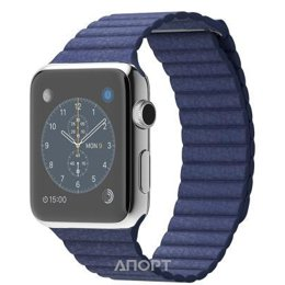 Apple Watch Series 2 42mm Stainless Steel Case with Midnight Blue Leather Loop Band (MNPW2)